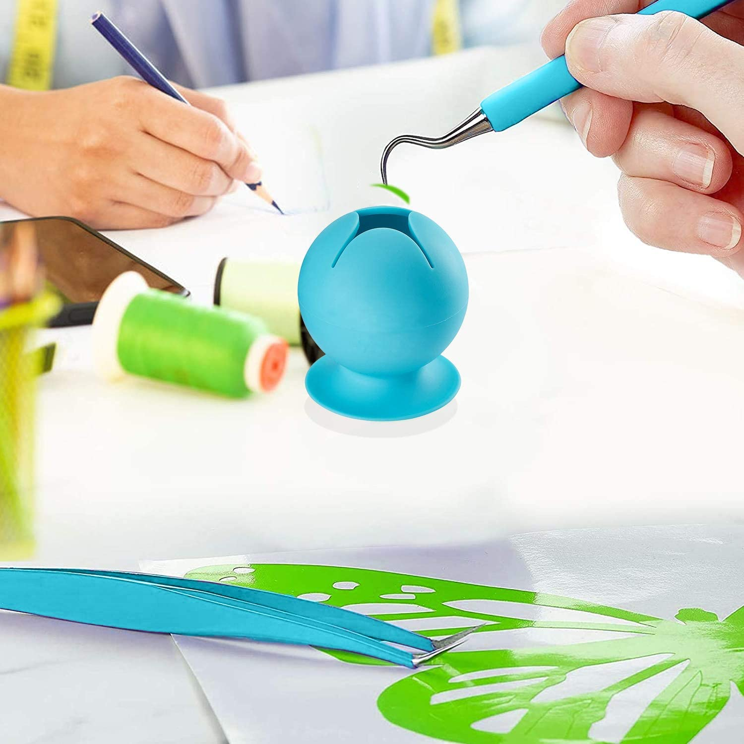 Soft Silicone Suctioned Can for Vinyl Disposing Vinyl Weeding Scrap Collector with Suction Cup Blue Cricut Weeding Tools for Vinyl