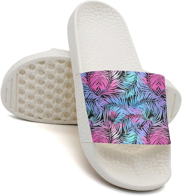 Qiopw rtw Bathroom Shower Non-Slip Sandal Tropical Palms Colours Pink Purple Indoor Slipper shoes for Women Girls