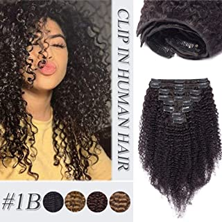 Afro Kinky Curly Clip In Human Hair Extensions Thick Double Weft Brazilian Virgin Hair Full Head 8 Pcs 18 Clips Kinkys Curly Clip Ins For African American Black Women Natural Black 12 inch 105g