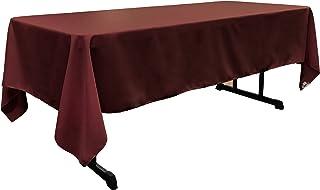 "LA Linen Polyester Poplin Rectangular Tablecloth, 60"" x 120"", Burgundy"