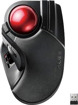 エレコム マウス ワイヤレス (レシーバー付属) トラックボール 大玉 8ボタン チルト機能 ブラック M-HT1DRXBK