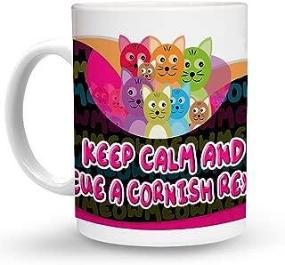 Makoroni - KEEP CALM AND RESCUE A CORNISH REX CAT Cat Cats Mug - 11 Oz. Unique COFFEE MUG, Coffee Cup