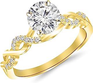 1.13 Carat Twisting Infinity Gold and Diamond Split Shank Pave Set Diamond Engagement Ring with a 1 Carat J-K I2 Center