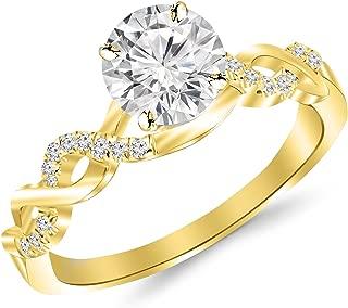 0.46 Carat Twisting Infinity Gold and Diamond Split Shank Pave Set Diamond Engagement Ring 14K White Gold with a 0.33 Carat I-J I2 Round Brilliant Cut/Shape Center