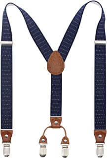 Bioterti Suspenders for Kid Toddler Adjustable X-back with 4 Strong Clips Braces