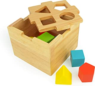 Bimi Boo Shape Sorter - Wooden Toy for Kids Age 2 - Classic Sorting Cube with Stacking Blocks for Toddlers – Premium Toys for Boys and Girls ( 8 Pcs, 4 Geometric Shapes and Colors )