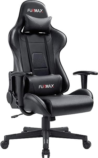 Furmax 高背游戏办公椅人体工学赛车风格可调高度执行电脑椅 PU 皮革转体办公椅黑色