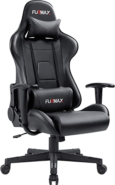 Furmax High Back Gaming Office Chair Ergonomic Racing Style Adjustable Height Executive Computer Chair PU Leather Swivel Desk Chair Black