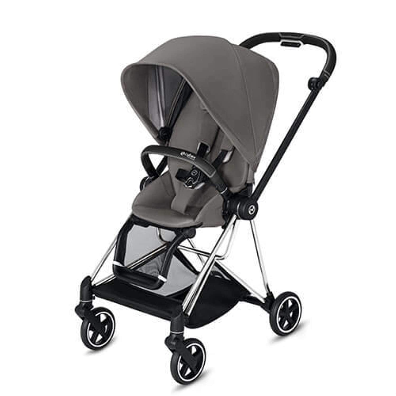 Cybex Mios 2 Complete Stroller, One-Hand Compact Fold, Reversible Seat, Smooth Ride All-Wheel Suspension, Extra Storage, Adjustable Leg Rest, Manhattan Grey Seat with Chrome/Black Frame