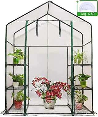 "Quictent Greenhouse Mini Walk-in 3 Tiers 6 Shelves 102lbs Max Weight Capacity Portable Plant Garden Outdoor Green House 56""x29""x77"", with 50 T-Type Plant Tags"