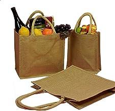 Jute Tote Bags Natural Reusable Grocery Totes Laminated Interior Full Gusset