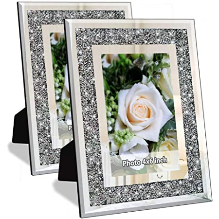"""Details about  /GLAMOUR,PHOTO FRAME SILVER GLITTER  MIRRORED GLASS     FOR 5/"""" X 7/"""" PHOTO"""