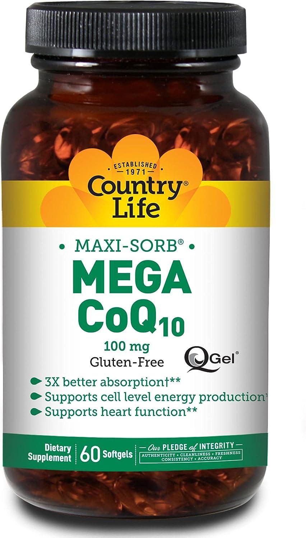 Country Life Maxi-Sorb CoQ10 Mega New item 100 Q-Gel 60-Count trust mg
