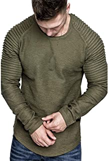 Men Autumn Winter Long Sleeve Pullover Coat, Male Solid T Shirt Blouse Tunic Tops Slim Outwear Sport Coat