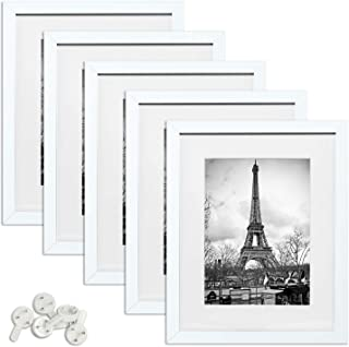 upsimples 11x14 Picture Frame Set of 5,Display Pictures 8x10 with Mat or 11x14 Without Mat,Multi Photo Frames Collage for Wall Display,White