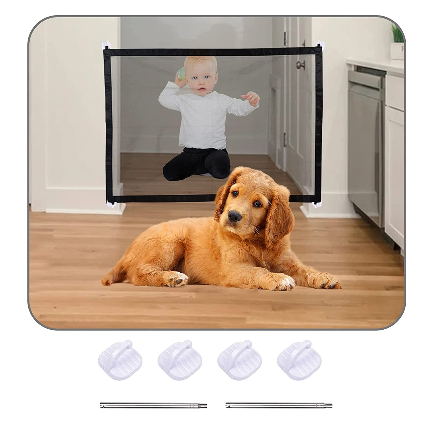 Pet Safety Guard Mesh Dog Gate, Foldable Pet Safety Fence Portable Dogs Enclosure Protection Net with 4 Hooks, Pet Gate Magic Gate for Dogs for Install Anywhere for Hall Doorway and Stair