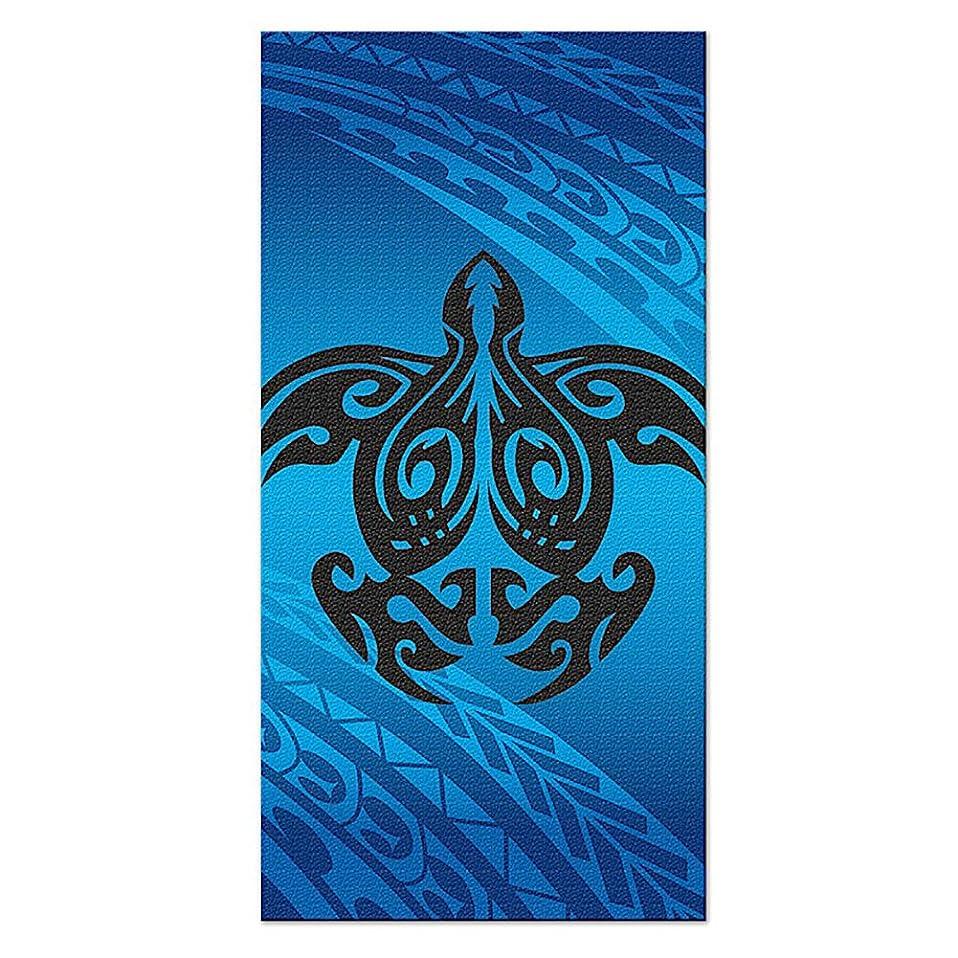 大佐過敏なアレキサンダーグラハムベルHawaii Beach Towel Tribal Honu Turtle Blue