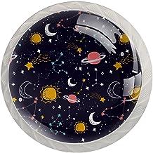 ATOMO 4 Stks Kast Knoppen voor Lade Dressoir Keuken Kasten Garderobe Badkamer Zodiac Kleurrijke Planeet Maan Ster Nacht