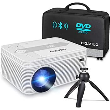 BIGASUO [2020 Upgrade] Bluetooth Full HD Projector Built in DVD Player, Portable Mini Projector 5500 Lumens Compatible with iPhone/iPad/TV/HDMI/VGA/AV/USB/TF SD Card, 720P Native 1080P Supported