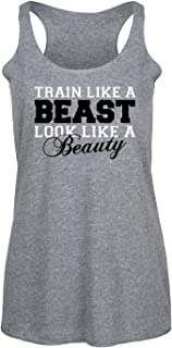 Instant Message Train Like A Beast Look Like Beauty - New Year Resolution Workout Ladies Triblend Racerback Tank