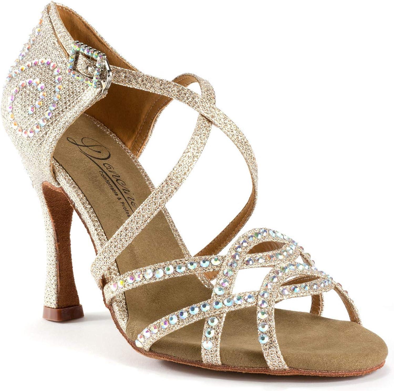 Dancine Professional Ballroom Latin Salsa Social bröllop bröllop bröllop Dance skor, Crystal Design, Two Styles  köpa billigt