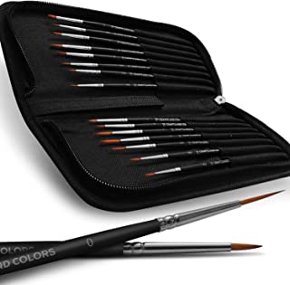 Professional Detail Paint Brush Set – 15 Easy Washable Paint Brushes – Fine Detailing for Acrylics, Oil, Watercolor & More – Matte Black Wooden Handles, Canvas Case and Premium Nylon Hair (15)