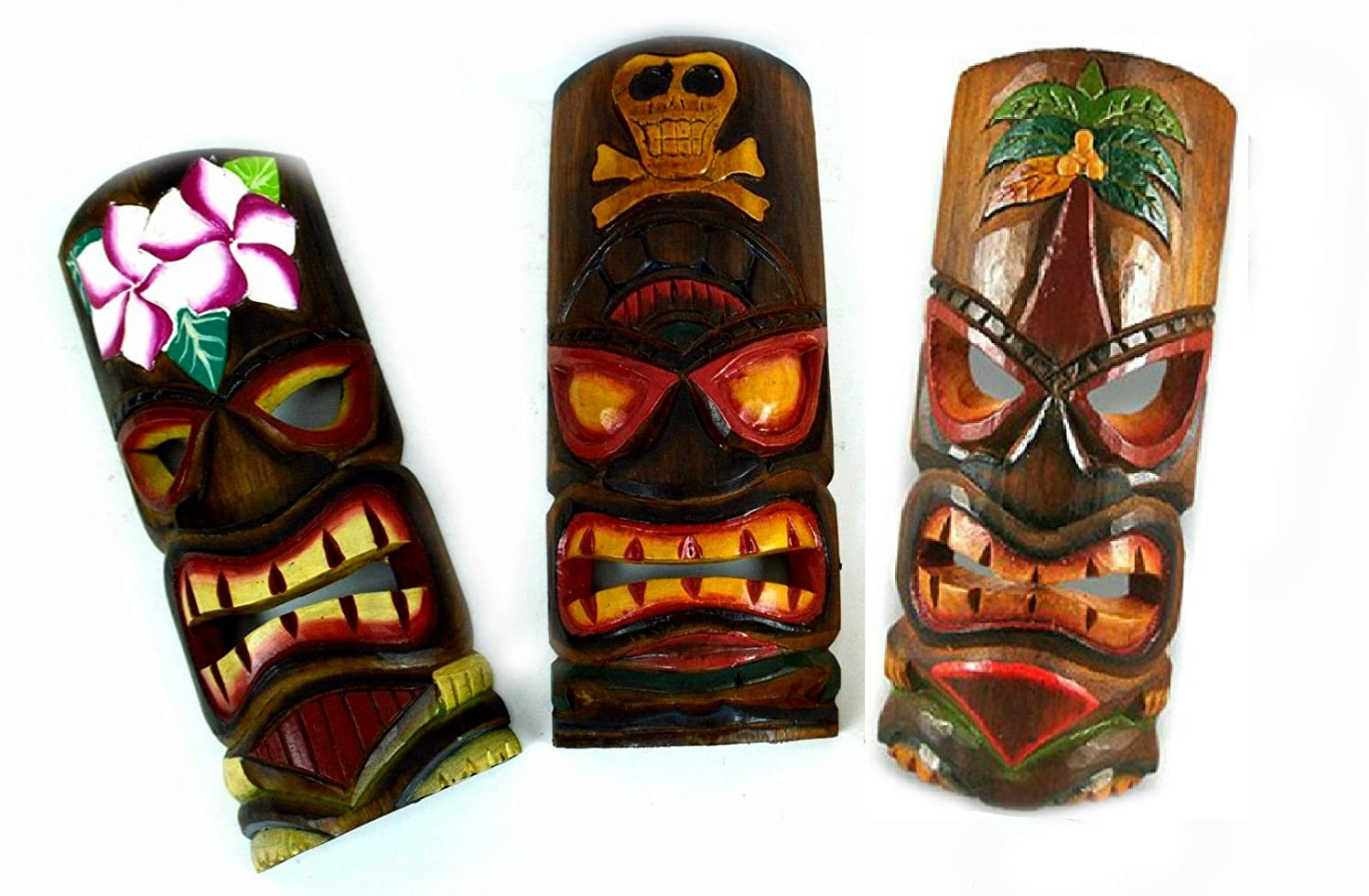 Set of 3 Polynesian Hawaiian Tiki Bar Style Wall Masks 12 inches Island Art