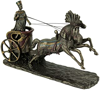 Veronese Design Nefertiti Egyptian Queen Driving Horse Drawn Chariot Statue