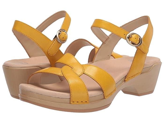 Vintage Sandals | Wedges, Espadrilles – 30s, 40s, 50s, 60s, 70s Dansko Karmen Yellow Burnished Calf Womens Shoes $87.99 AT vintagedancer.com