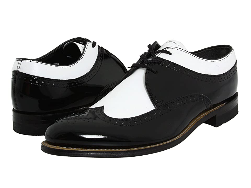 60s Mens Shoes | 70s Mens shoes – Platforms, Boots Stacy Adams Dayton - Wingtip Black w White Mens Shoes $100.00 AT vintagedancer.com