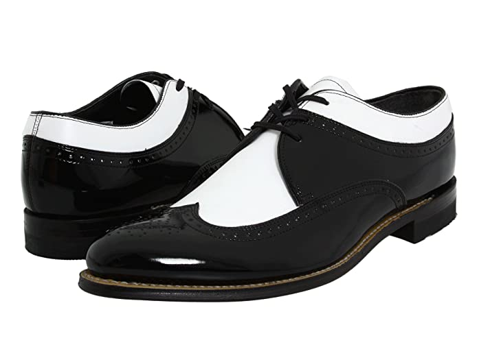 Men's 1950s Shoes Styles- Classics to Saddles to Rockabilly Stacy Adams Dayton - Wingtip Black w White Mens Shoes $92.50 AT vintagedancer.com