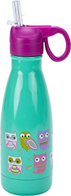 Boston Warehouse Owl Kids Insualted Water Bottle, 10 Ounce, Teal