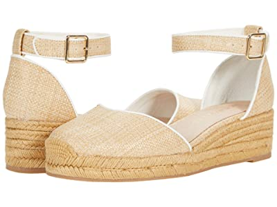 Jack Rogers Palmer Rattan Closed Toe Mid Wedge (Natural/White) Women