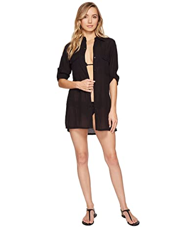 LAUREN Ralph Lauren Crushed Camp Shirt Cover-Up (Black) Women