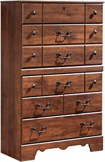 Ashley Furniture Signature Design - Timberline Chest of Drawers - 5 Drawers - Vintage Casual - Warm Brown