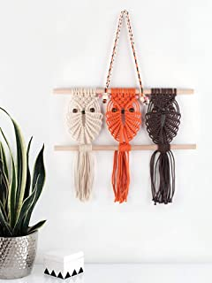 Three Owls Macrame Woven Wall Hanging Art Decor - Cute Boho Chic Decorations for Baby Nursery Little Kids Room, Best Friend Gifts for Owl Lovers