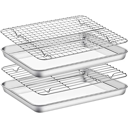 Baking Sheet with Cooling Rack Set , Set of 4 [2 Sheets+2 Racks],Size 12x10x1 Inch, Estmoon Stainless Steel Cookie Sheet for Baking Use, Baking Pan Non Toxic &Heavy Duty ,Oven & Dishwasher Safe