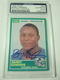Barry Sanders Signed 1989 Score Rookie Card Lions #257 Auto 10 Gem Mint - PSA/DNA Certified - Football Slabbed Autographed Rookie Cards