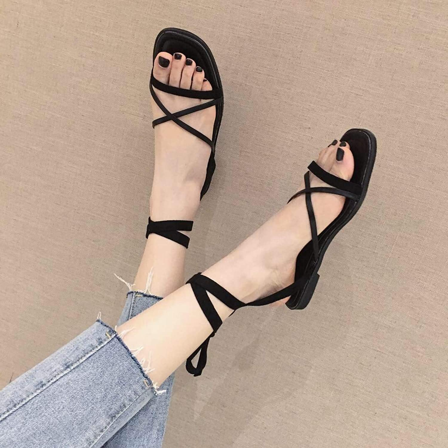 DNJKSA Fashion Sandals Korean Version of A Word Sandals Women in Summer 2019 New Flat-Heeled Ribbon Comfortable Travel