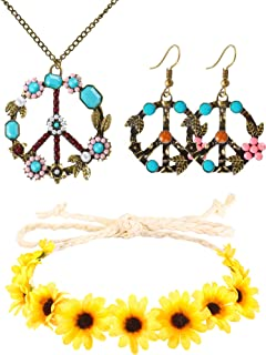 3 Pieces Hippie Costume Set Peace Sign Earrings Necklace Flower Crown Headband