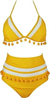 COCOSHIP Women s Mesh Striped High Waist Bikini Set Tassel Trim Top Halter  Straps Swimsuit(FBA e5a244418