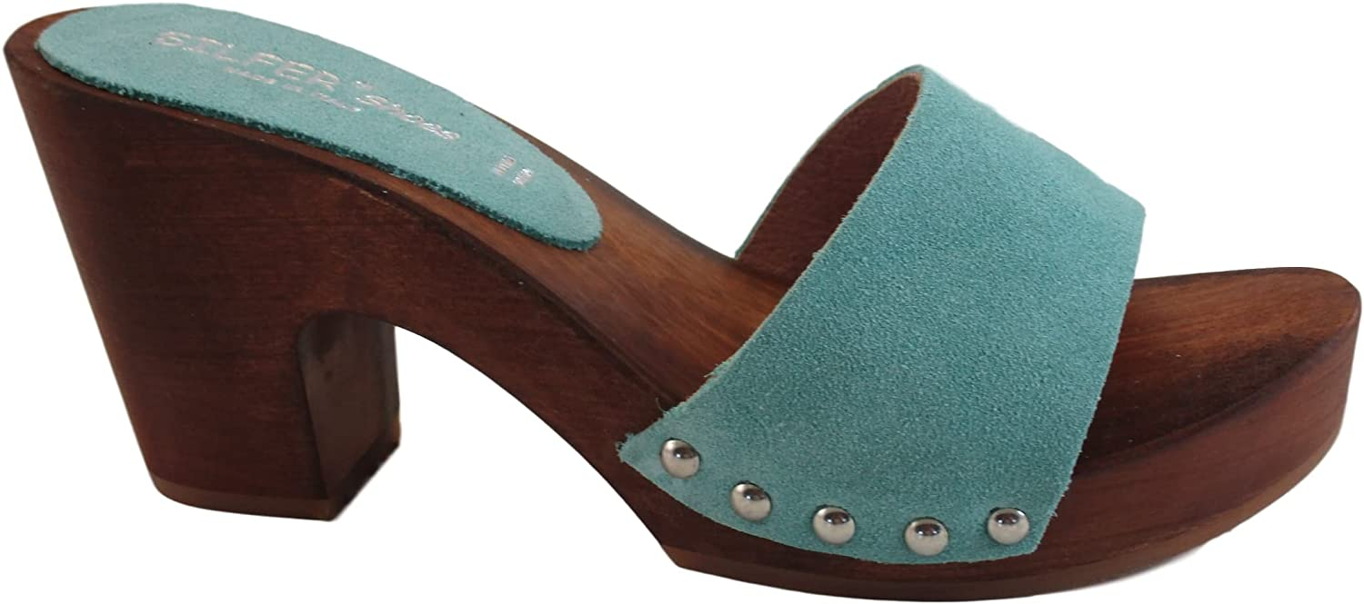 Silfer shoes Women's Clogs- Made in  Made Out of Real Wood and Suede Leather Light bluee, sea Water color. Susy-B,Size 4
