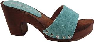 Silfer Shoes Zoccolo Donna Vero Legno e Pelle di camoscio, Colore Celeste - Colore Acqua Marina - -Susy B