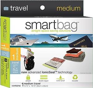 Smart Design Travel SmartBag Instant Space Saver Storage - Medium - Airtight Double Zipper - Vacuum Seal - for Clothing, Pillows, Blankets, & More - Home Organization (1 Bag)