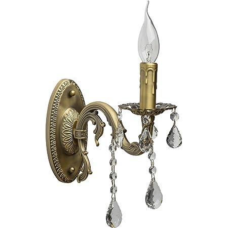 MW-Light 301027801 Applique Murale Classique Antique en Métal couleur Bronze avec Lampe en Forme Bougie décorée de Cristaux pour Salon Couloir 1x60W E14