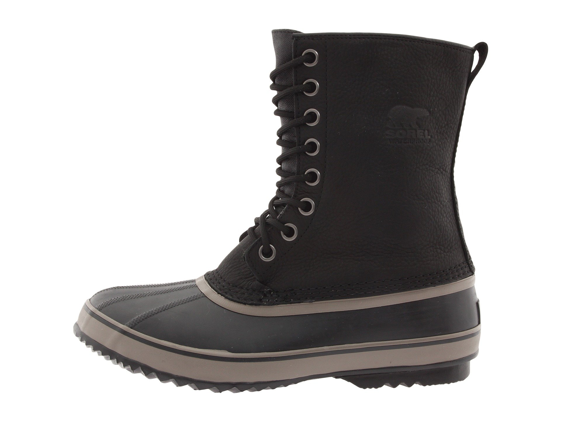 sorel 1964 premium waterproof leather boots in black