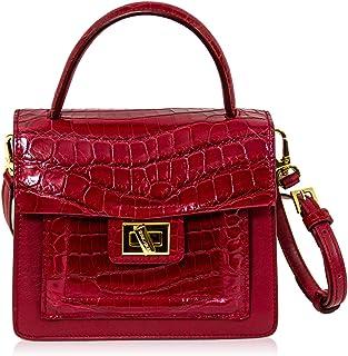 Silvano Biagini - Borsa a mano da donna, in vera pelle di coccodrillo, con manico superiore, colore: Rosso granato