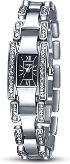Time100 Women Fashion Diamond Skeleton Chain Wrist Watch Square Dial Bracelet Ladies' Watch