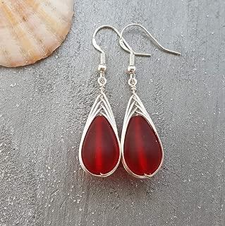 Handmade jewelry from Hawaii, wire braided Ruby red sea glass earrings,