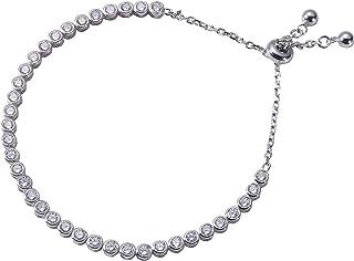 سوار التنس القابل للتعديل من Jenna Hunter CZ - تصميم عصري وفريد للنساء قاعدة من الفضة الإسترلينية 925 مع أحجار زركون